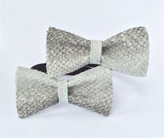 Fish Leather bow tie natural grey bow ties made from salmon fish skins that were once discarded by fisher men making our bowties a more sustainable choice to other exotic leather accessories and bow tied by KRUMLA by DaWanda.com