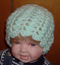 Mint green shell beanie 0 to 3 months by grandmakaystreasures, $4.00