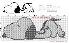 Snoopy sleeping free Peanuts cross stitch pattern small size