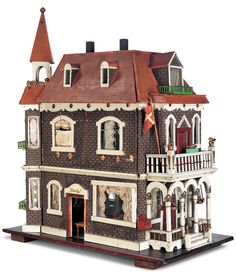 "A Late 19th Century Furnished Doll House Known as ""VitaÕs Eje"", at Theriault's auction house ~ http://www.theriaults.com/images/1065/cat-1065_049-ASILHO.jpg"