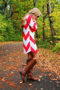 Fall Red Chevron Dress With Long Boots