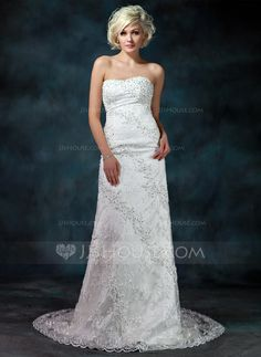 Sheath/Column Sweetheart Chapel Train Satin Lace Wedding Dress With Beading Sequins (002000175) - JJsHouse