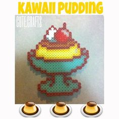 Kawaii pudding  perler beads by cute.crafts