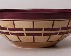 Purpleheart y Maple Bowl Wood Turning Lathe, Wood Lathe, Segmented Turning, Wood Projects For Kids, Wood Turning Projects, Woodworking Inspiration, Lathe Projects, Wood Creations, Wood Bowls