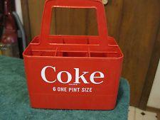 Vintage Red Plastic Coca Cola Handle Holder 6 Bottle Carrier Coke Crate