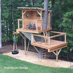 09 diy playground project ideas for backyard landscaping Diy Playground, Tree House Playground, Backyard For Kids, Backyard Projects, Backyard Ideas, Garden Ideas, Pallet Projects, Pallet Ideas, Nice Backyard