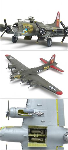 Revell Germany 1/72 scale B-17G Flying Fortress - The kit includes optional nose parts, including the bombardier's glass, side windows, and astrodome. Detailed engines are also featured.