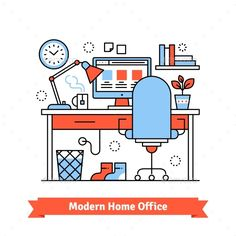 Buy Modern Home Office by IconicBestiary on GraphicRiver. Modern home office. Graphic or web designer workplace. Thin line art flat illustration with icons. Line Design, Web Design, Flat Design, Graphic Design, Office Cartoon, Modern Home Offices, User Experience Design, Flat Illustration, Illustrations