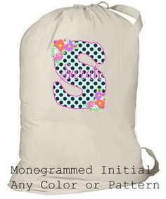 Large Laundry Bag Personalized Summer Camp Bag by ColorStyleDesign Senior Gifts, Grad Gifts, Laundry Bags, Monogram Initials, Drawstring Backpack, Backpacks, Trending Outfits, Unique Jewelry, Handmade Gifts