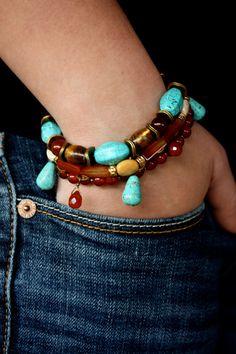 Red Turquoise Gold MultiStrand Gemstone Bracelet by Woojoo on Etsy