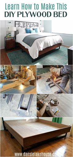 Learn how to make your own DIY bed frame! We made DIY welded legs, but the walnut bed frame is just an easy to build plywood box! Build this walnut bed and add store bought legs - or leave it on the floor - for an even easier DIY bed. Click through for the step by step DIY walnut bed tutorial and tour the rest of this DIY bedroom decor. I hope you love this modern bed design - walnut plywood is easy to work with but looks high end! #diybed #plywood #diyhomedecor Cool Diy Projects, Home Projects, Project Ideas, Diy Bedroom Decor, Diy Home Decor, Decor Crafts, Furniture Makeover, Diy Furniture, Diy Wood Countertops