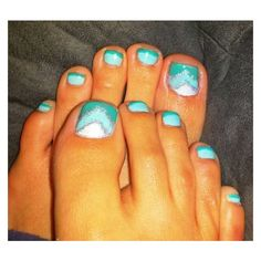 Mint turquoise silver glitter chevron nails pedicure ❤ liked on Polyvore featuring beauty products and nail care