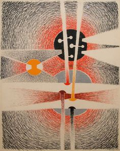 "Richard Filipowski, Abstract Composition in Red, Violet, Orange, Gray, Black  1947 graphite, colored pencil and gouache on paper, 28"" x 22"""