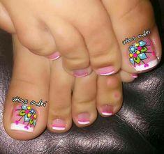 Pedicure Designs, Pedicure Nail Art, Toe Nail Designs, Nail Polish Designs, Toe Nail Art, French Pedicure, Nail Manicure, Pretty Toe Nails, Cute Toe Nails