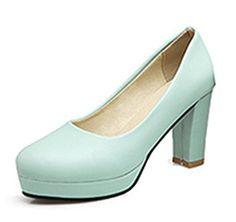 Aisun Damen Elegant Einfarbig Kunstleder Runde Zehen Blockabsatz Pumps Blau  34 EU - Damen pumps (
