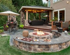 A WARM AND WELCOMING ENVIRONMENTElegant and functional, this grand fireplace room extends the style and manner of the interior environment – outside into nature. This rich, contemporary space is