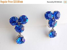 ON SALE Cobalt blue Crystal Earrings with by popgoesmyvintage
