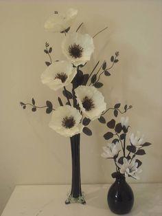 pair of white & black silk flower arrangements in vase | eBay