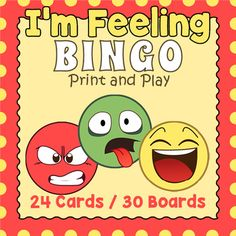 Your students will enjoy playing this bingo game featuring 24 emotions and feelings that they are likely to experience.  It makes an engaging introduction to the subject  and a welcome fun break in the classroom.  Included are 24 calling cards and 30 unique bingo game boards.