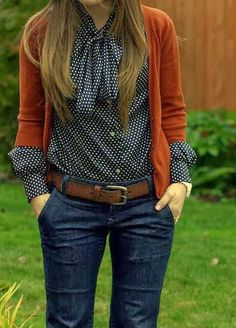 Small polka dot shirt, brown cardigan and jeans for fall