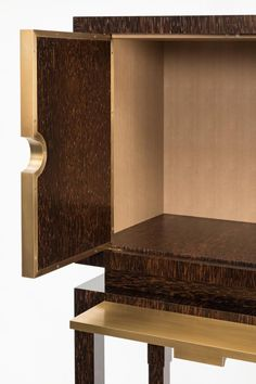 bourbon cabinet in palmwood bronze and gypsum with a faux lizard skin interior