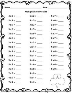 This is a St. Patrick's Day multiplication practice sheet.All of my products are free within the first 24 hours of posting. Follow me for new product notifications. Like and check us out on Facebook at https://www.facebook.com/Learningislotsoffun so you can have a chance at winning Teachers Pay Teachers gift certificates (monthly drawings).