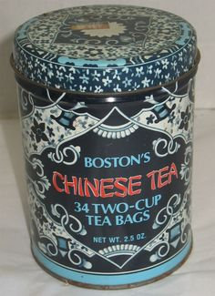 Vintage Boston's Chinese Tea White & Blue Lidded Tin Canister Box Storage