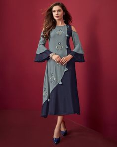 An remarkable Navy Blue and Light Blue Color Rayon Slub Embroidery Party Wear Readymade Kurtis will make you look highly stylish and graceful. Simple Kurti Designs, New Kurti Designs, Salwar Designs, Kurta Designs Women, Kurti Designs Party Wear, Designs For Dresses, Kurti Sleeves Design, Fancy Kurti, Long Dress Design