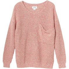 Monki Annie knit ($6.73) ❤ liked on Polyvore featuring tops, sweaters, shirts, jumpers, peach melange, animal sweater, knit shirt, knit tops, monki and red sweater