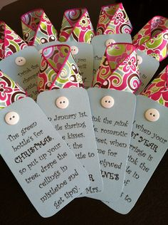 """Give a unique gift that is sure to impress! This set of wine basket tags have a poem for each """"first"""" event in the new couple's lives. There are nine tags and a set of matching directions included. Wedding Shower Gifts, Wedding Gifts, Bridal Shower, Wedding Tags, Simple Gifts, Cool Gifts, Unique Gifts, Cute Crafts, Crafts To Make"""