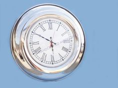 """Chrome Round Clock 23"""" from Handcrafted Nautical Decor - In stock and ready to ship"""