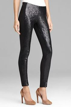Sequin leggings by DKNYC. How To Wear Leggings, Women's Leggings, Tights, Sequin Leggings, Flattering Dresses, Curvy Girl Fashion, Black Sequins, Colorful Fashion, Fashion Outfits