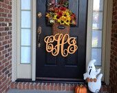 Items similar to Single Letter Monogram Wooden Door Decor - 18 inches on Etsy