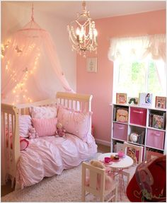 Everyone needs a chandelier. Especially your little princess. <3  LOVE this idea for a little girl's room - lighted canopy and chandelier. Majestic!  http://www.JDouglasDesign.com