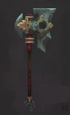 A Titan's Axe, a rare weapon that carries incredible weight and power. Imbues the user with substantial strength and axe-throwing prowess. Bg Design, Prop Design, Game Design, Hand Painted Textures, Game Props, Digital Art Gallery, Medieval Weapons, Game Concept Art, Weapon Concept Art