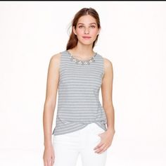 🆕 J crew striped necklace shell No need for jewelry when you've got this tank! Stretchy knit cotton ponte fabric, perfect for layering. Slim fit, 24.5 inches long. Worn once. J. Crew Tops Tank Tops