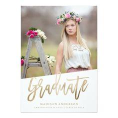 Shop Carefree Faux Foil Graduation Invitation created by FINEandDANDY. Graduation Announcements, Graduation Invitations, High School Classes, Flower Girl Dresses, Wedding Dresses, Celebrities, Prints, Party, Photography