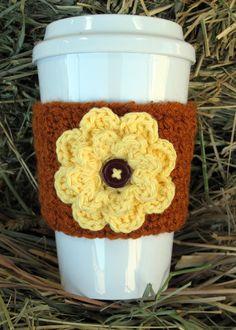 Autumn Fall Flower Coffee Cup Cozy by Enchanted-Ladybug… - Herzlich willkommen Crochet Coffee Cozy, Coffee Cup Cozy, Crochet Cozy, Crochet Fall, Crochet Gifts, Hot Coffee, Coffee Cups, Crochet Christmas, Crochet Dishcloths