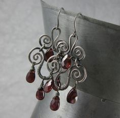 Garnet & Sterling Silver Spiral Chandelier Earrings from Wickwire Jewelry, $42.00