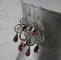 Garnet & Sterling Silver Spiral Chandelier Earrings from Wickwire Jewelry, $42.00