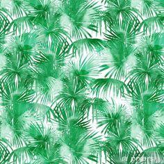 Papel Pintado Estándar Patrón de acuarela tropical. palmeras y ramas tropicales en fondo transparente sobre un fondo blanco. arte digital. puede ser utilizado para manufactura y textiles - Plantas y flores Ideas Para, Plant Leaves, Tropical, Textiles, Moon, Pattern, Watercolor Pattern, Branches, Palm Trees