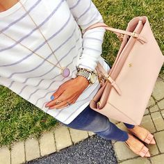 IG @mrscasual <click through to shop this look> loft striped lightweight striped sweater. Gray skinny jeans. Jcrew factory emery bow flats nude. Tory burch York buckle tote. Druzy pendant necklace. Michael kors Lexington watch.