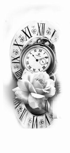 black and white sketch art tattoo splash color Pocket Watch Tattoo Design, Clock Tattoo Design, Floral Tattoo Design, Tattoo Design Drawings, Tattoo Sleeve Designs, Tattoo Sketches, Tattoo Designs Men, Sleeve Tattoos, Rose Tattoos For Men