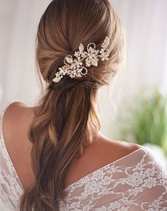 Check out this wedding accessory from Dareth Colburn. View photos and get details at TheKnot.com. Bridal Hair Half Up, Half Up Wedding, Wedding Hair Down, Wedding Hairstyles For Long Hair, Bride Hairstyles, Down Hairstyles, Straight Wedding Hair, Bridal Hair Updo Loose, Soft Wedding Hair