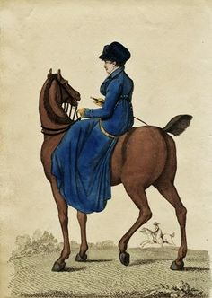 La Belle Assemblée March 1807 A French Lady on Horseback Riding Habit from fashion plate
