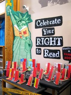 Celebrate your right to read! Banned Books Week display at Lacey Timberland Library. #bannedbooks #bannedbooksweek
