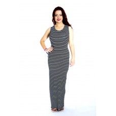 Ladies Full Length Monochrome Striped Scoop Neck Maxi Dress Made by Mollie Fashion in Greater #Manchester - £12.99
