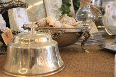 DECORATING WITH BURLAP AND LACE   display little shells in a beautiful old silver table piece , so ...