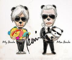 Karl Lagerfeld vs Andy Warhol by BENDA. Illustration.Files: Karl vs Warhol | Draw A Dot.