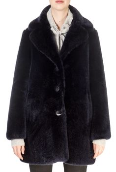 This is the stunning 'Marni' Navy Faux Fur Coat from our friends at Giovanni! SHOP NOW! Black Faux Fur Coat, Taupe, Beige, Sheepskin Coat, Marni, Shop Now, Navy, Clothing, Jackets